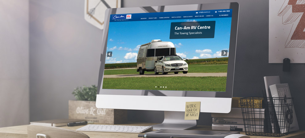 The Can-Am RV home page displayed on a typical laptop
