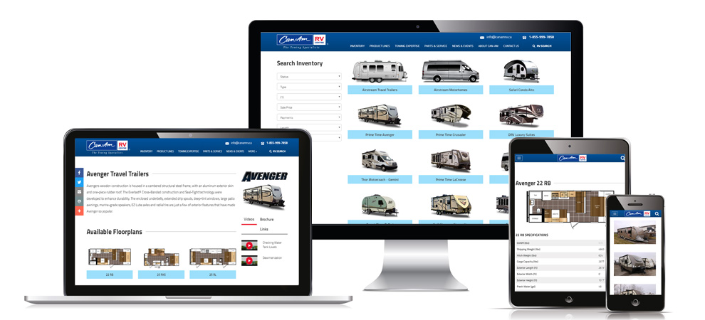 The versatile responsiveness of the Can-Am RV website shown here on phone, tablet, laptop and desktop moitor